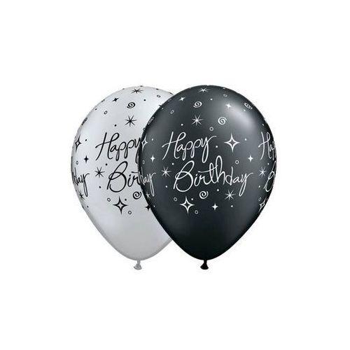 Go Balony lateksowe z nadrukiem happy birthday czarne i srebrne - 30 cm - 5 szt.