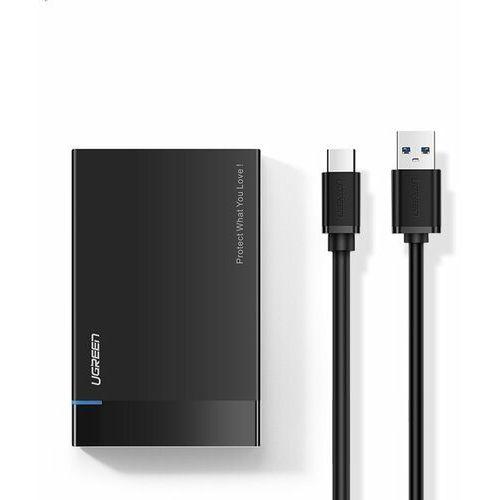 Ugreen kieszeń na dysk HDD SSD obudowa dysku SATA 2,5'' USB 3.2 Gen 1 (5 Gbps) USB Typ C + kabel 0,5 m czarny (US221 50743)