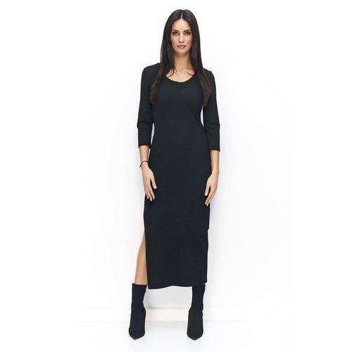 Czarna Sukienka Dresowa Maxi z Rozcięciem, w 2 rozmiarach