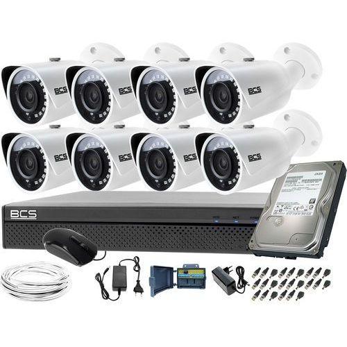 Zestaw do monitoringu 8 kamer -tq3200ir-e rejestrator bcs-xvr0801-iii dysk 1tb marki Bcs