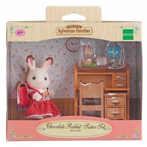 Sylvanian Families, biurko i siostra królików z czekoladowymi uszkami, zestaw z figurką - produkt z kategorii- domki dla lalek