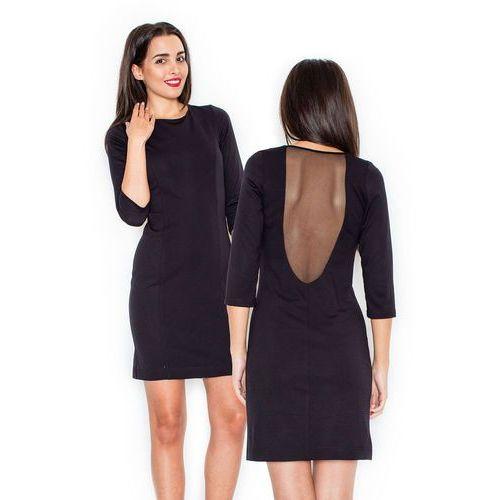 2747803cbf Czarna elegancka sukienka z przezroczystą wstawką na plecach marki Katrus  134