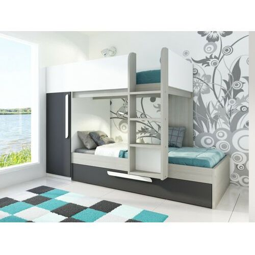 Łóżko piętrowe ANTONIO z wysuwaną szufladą – 3 × 90 × 190 cm – wbudowana szafa – kolor drewna sosnowego, antracytowy i biały