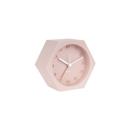 Karlsson:: Budzik Hexagon Concrete różowy - różowy