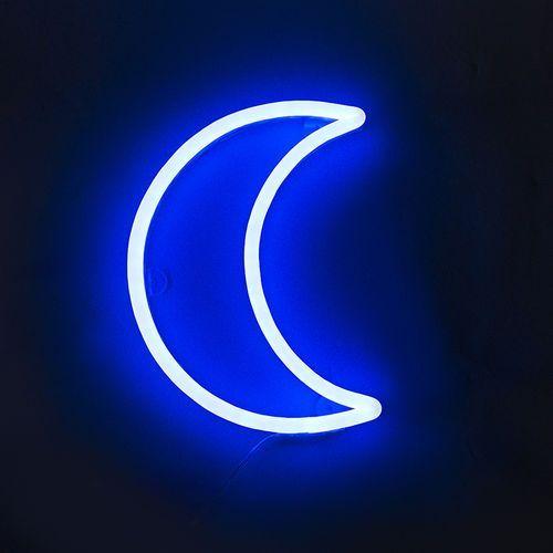 Lampa ścienna Neon niebieski księżyc ściemniana z pilotem