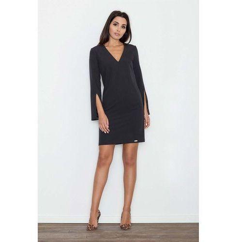 14da4528d2 Czarna sukienka koktajlowa mini z rozciętym rękawem