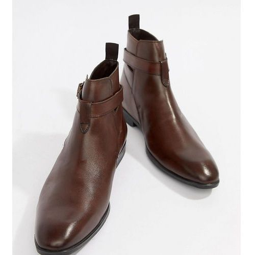 design wide fit chelsea boots in brown leather with strap detail - brown, Asos