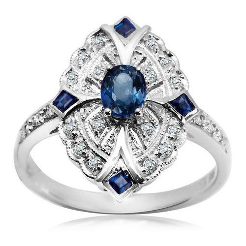 Royal Diamonds - złoty pierścionek z brylantami i szafirami, pierścionek Biżuteria YES