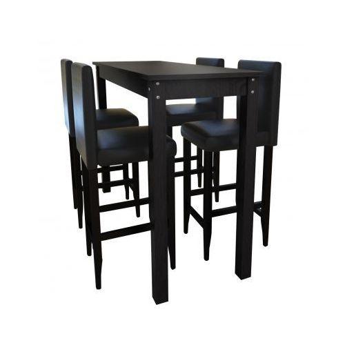 Stolik barowy z 4 krzesłami, kolor czarny, marki vidaXL do zakupu w VidaXL
