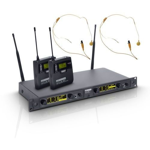 LD Systems WIN 42 BPHH 2 B 5 mikrofon bezprzewodowy nagłowny, podwójny, kolor beżowy