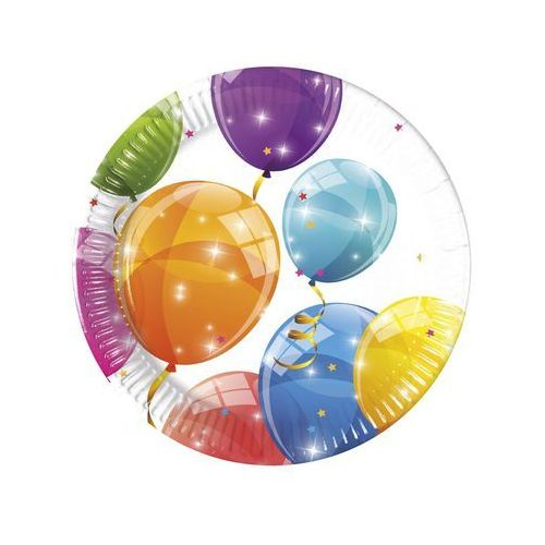 Talerzyki urodzinowe błyszczące baloniki - 20 cm - 8 szt. marki Procos