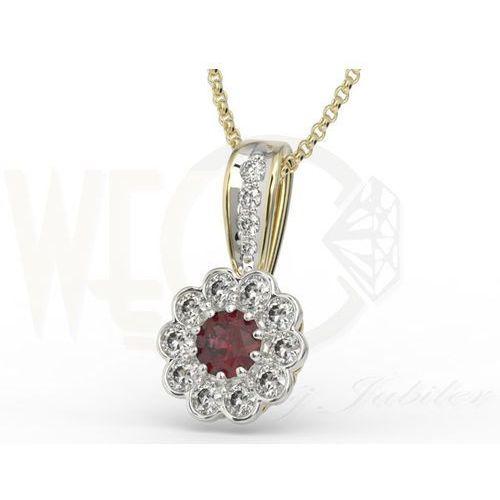 Węc - twój jubiler Wisiorek z białego złota z granatem i diamentami jpw-95zbr, kategoria: obrączki ślubne