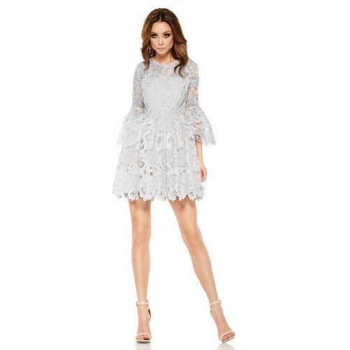 Lemoniade Romantyczna sukienka z koronki l262 jasnoszary