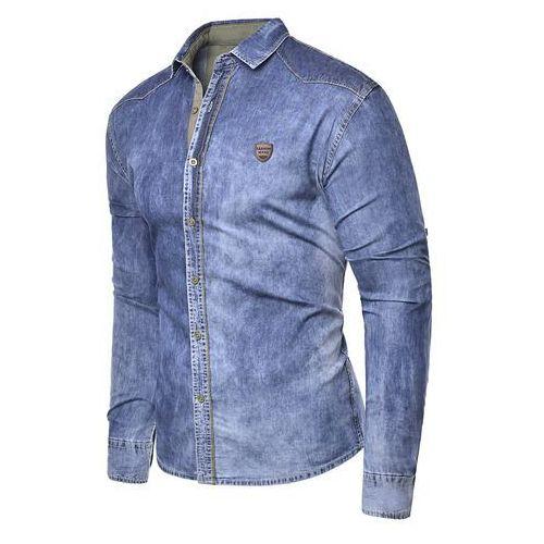 Risardi Koszula męska jeansowa długi rękaw rl15 - niebieska