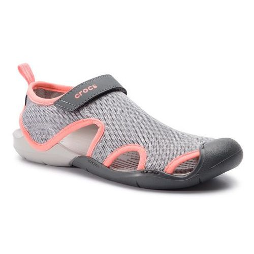 Sandały CROCS - Swiftwater Mesh Sandal W 204597 Light Grey/Pearl White