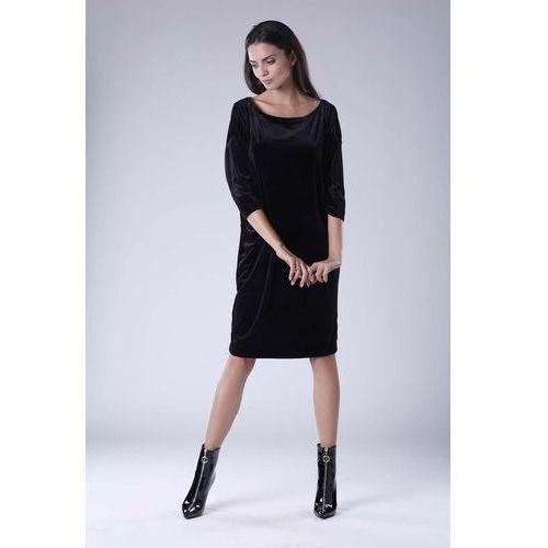 b80d064f13 Czarna Luźna Sukienka z Dekoltem w Łódkę z Weluru 129