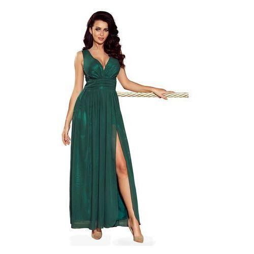 Zielona Sukienka Wieczorowa Maxi z Dekoltem V, wieczorowa