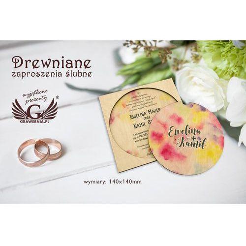 Grawernia.pl - grawerowanie i wycinanie laserem Zaproszenia ślubne z drewna - cyfrowy druk uv - zap016