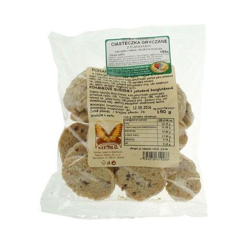 Ciastka gryczane z truskawkami bezglutenowe bez jajek, cukru i mleka 150g marki Natural