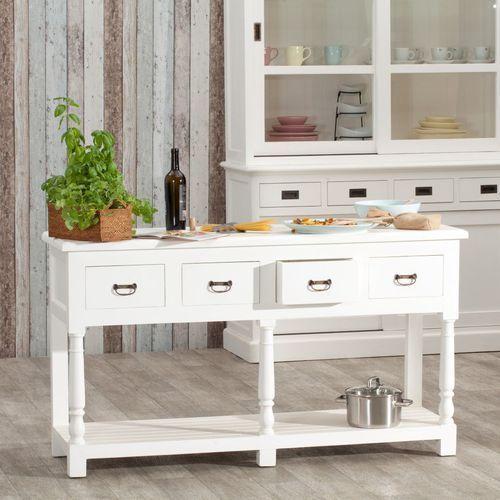 Dekoria wyspa kuchenna brighton 4 szuflady white, 149 × 48 × 84 cm