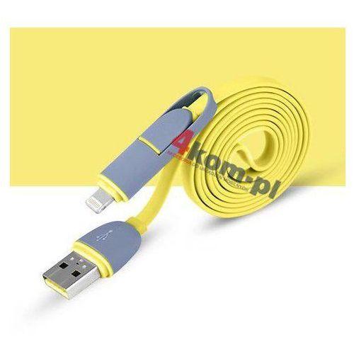 2w1 Kabel micro USB + LIGHTNING 8 pin do iPhone 5 5S 6 6+ - Żółty