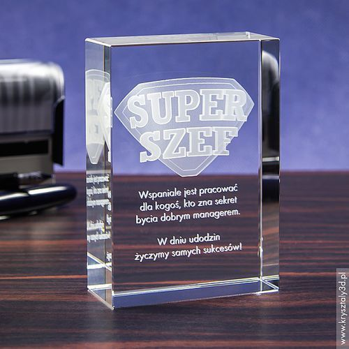 Odznaka 3D »Super Szef« • personalizowany kryształ 3D • GRAWER 3D