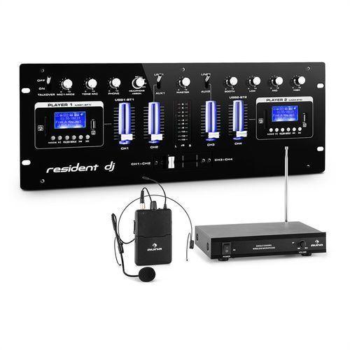 resident dj DJ405USB-BK 4-kanałowy pulpit mikserski z nagłownym mikrofonem
