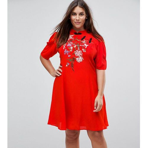 chinoiserie embroidered mini dress - red, Asos curve