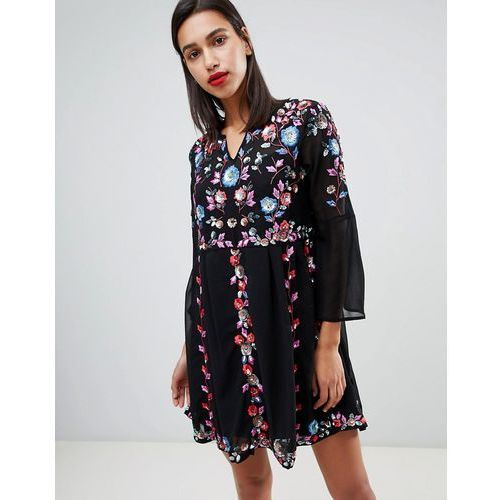 French Connection Edith Floral Embroidered Dress - Black, kolor czarny