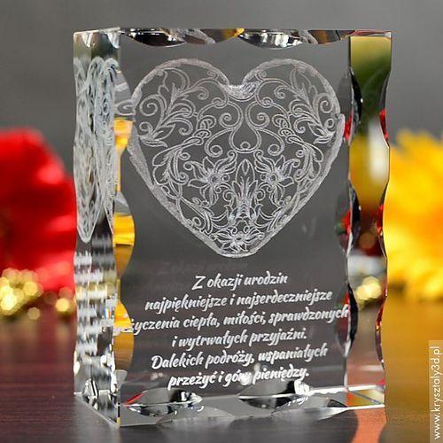 Koronkowe Serce 3D z Twoją dedykacją ♥ duża, żłobiona statuetka 3D • GRAWER 3D