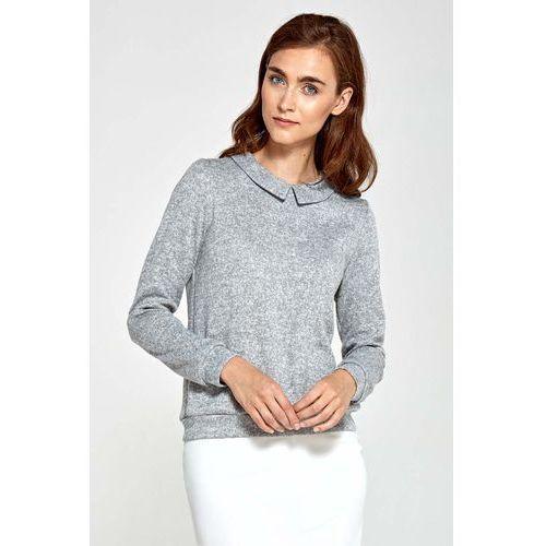 Szara swetrowa bluzka z kołnierzykiem marki Nife
