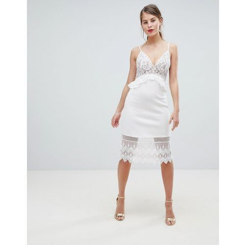 French Connection Strappy Lace Midi Dress - White, kolor biały