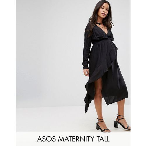 Asos maternity tall nursing midi dress with ruffle front and collar detail - black
