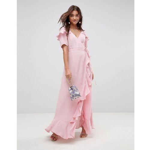 Asos short sleeve ruffle wrap maxi dress - pink