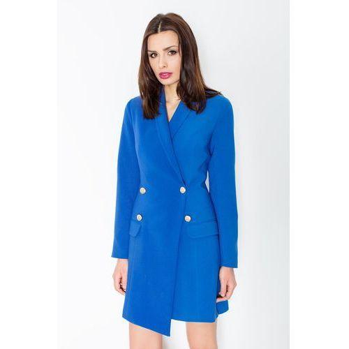 Niebieska Elegancka Sukienka Smokingowa Zapinana na Guziki, kolor niebieski