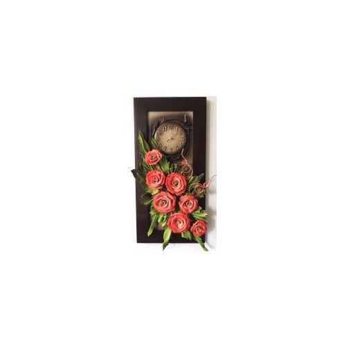 Nowoczesny obraz ze skóry z czerwonymi różami w wąskiej ramie - K4Z-12