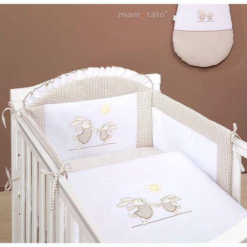 MAMO-TATO pościel 2-el Wesołe zajączki brąz z białym do łóżeczka 70x140cm