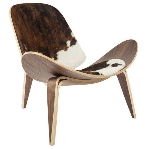 Krzesło inspirowane proj. shell chair - pony brązowe łaty marki Design town