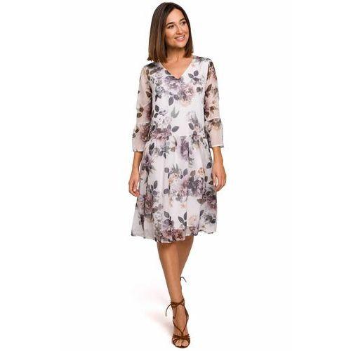 S214 Sukienka szyfonowa z obniżoną linią talii - model 1, 91853