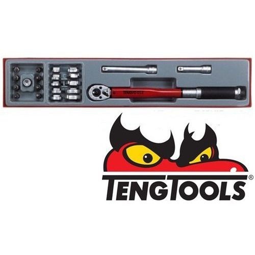 TENGTOOLS Zestaw klucz dynamometryczny + klucze pazurkowe + groty Torx 3/8