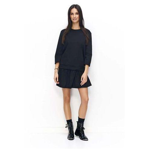 Czarna Dzianinowy Zestaw Bluzka+Spódnica, w 3 rozmiarach