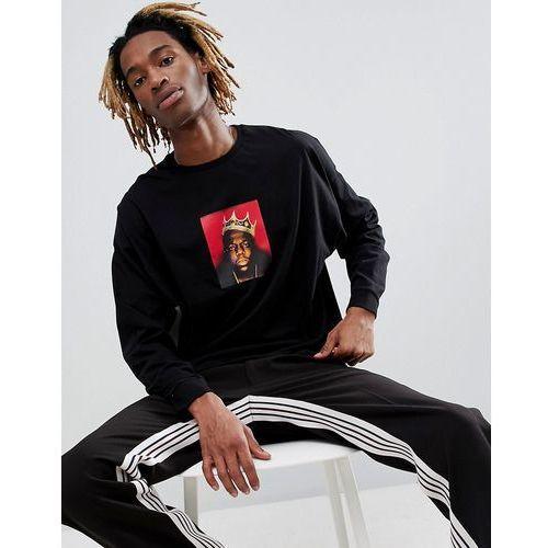 ASOS DESIGN Biggie oversized long sleeve t-shirt with B.I.G. print - Black, kolor czarny