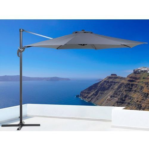 Parasol ogrodowy - antracytowy - ø 291 cm - na wysięgniku - metalowy - savona marki Beliani