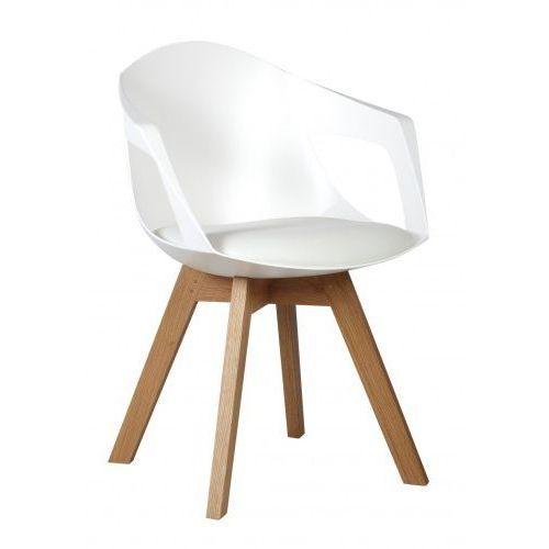 Kh Fotel holey arm biały z białą poduszką - podstawa dębowa