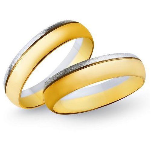 Obrączki z żółtego i białego złota 4mm - O2K/056 - produkt dostępny w Świat Złota