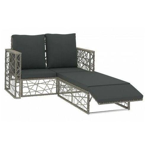 Elior Vidaxl 2-cz. zestaw wypoczynkowy do ogrodu, poduszki, rattan pe, szary