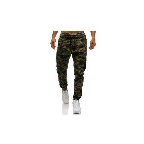 Spodnie męskie joggery bojówki moro-khaki denley 0705, Athletic