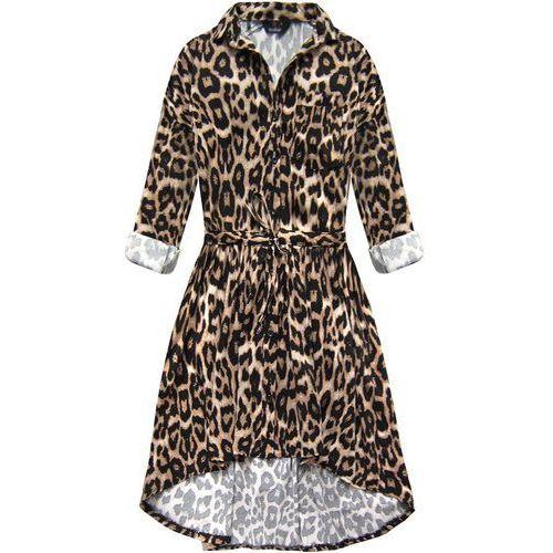Sukienka koszulowa w panterkę brązowa (132art) - brązowy marki My still life