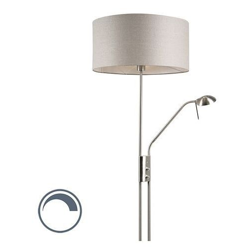 Lampa podłogowa stal z regulowanym ramieniem do czytania klosz szary - luxor marki Qazqa