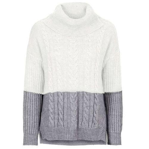 Sweter dzianinowy w warkocze bonprix szaro-biel wełny, w 6 rozmiarach